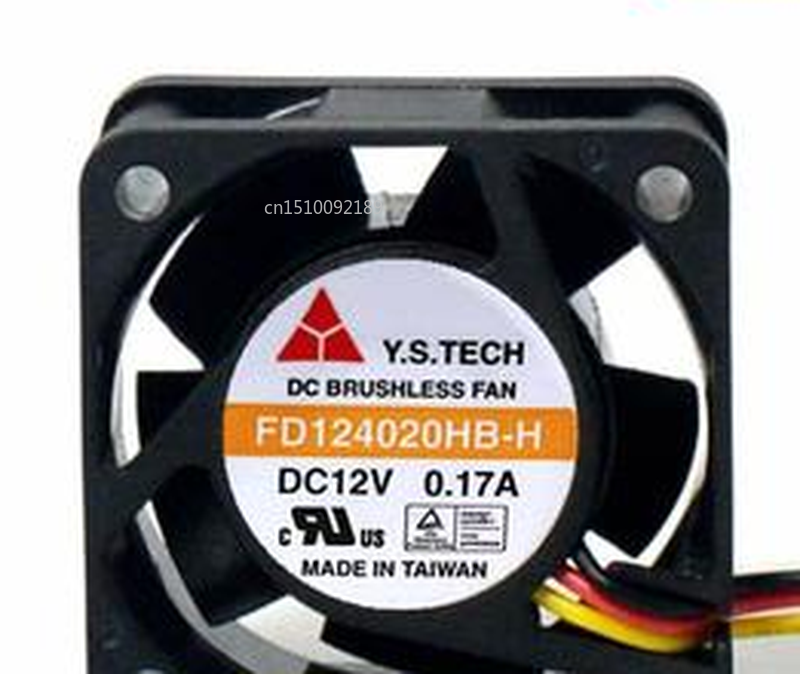 Free Shipping For Y.S.TECH FD124020HB-H DC 12V 0.17A 3-Wire 40x40x20mm Server Cooler Fan