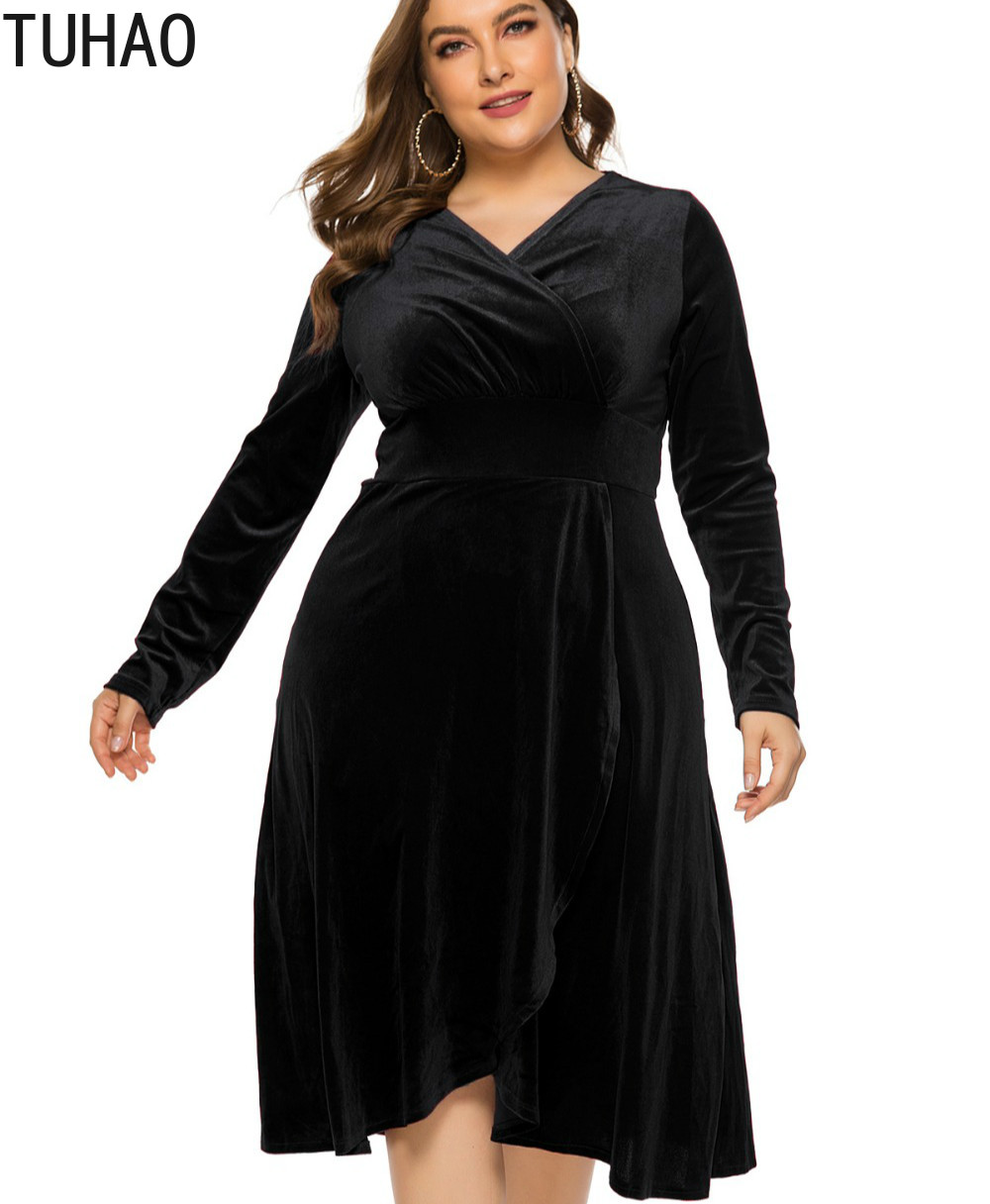 TUHAO 2020 Spring Women Elegant Velvet Dresses Middle Age Female Night Club Party Dress Plus Size 5XL 4XL 3XL Clothing Woman WM5 image