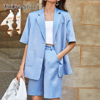 TWOTWINSTYLE Elegant Summer Two Piece Set Women Notched Collar Half Sleeve Loose Top High Waist Knee Length Pants Suits Female