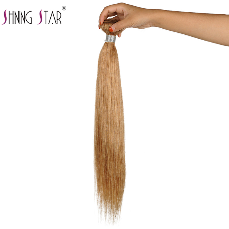Honey Blonde Bundles Colored 27 Straight Human Hair Weave Bundles Blonde Peruvian Hair Weft Extension Shining Star Remy Hair