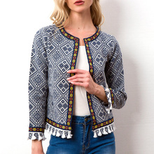2019 New Autumn Botanical Jacket Basic For Women Blue Collarless Elegant Geometric Tassel And Coat Feminina