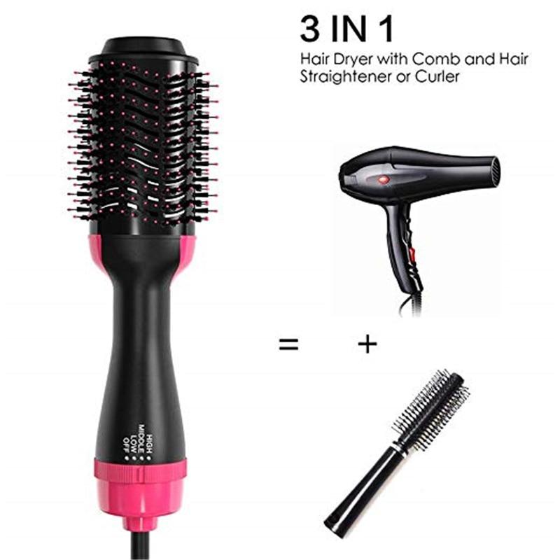 3 In 1 Negative Ion One Step Hair Dryer & Volumizer Anti-Static Suitable Straight & Curls Hair Styler Hair Straightener Brush