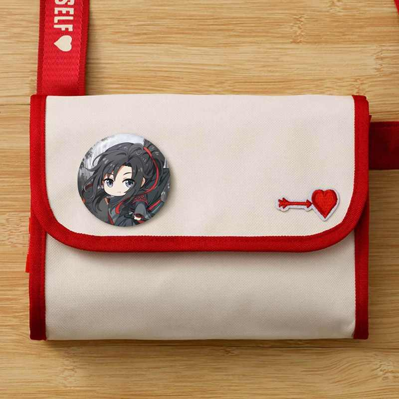 1 Pcs Anime Mo Dao Zu Shi Wei Wuxian Lan Wangji Figuur Model Broche Pins Broches Ronde Blik Cartoon Badge voor Zak Revers