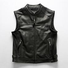 Motocicleta clube de couro colete masculino malha respirável couro perfurado zippper grosso genuíno sem mangas jaqueta