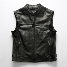 Motorcycle Club Leather Vest Mens Mesh Breathable Cowhide Perforated Zippper Thick Genuine Leather Sleeveless Jacket