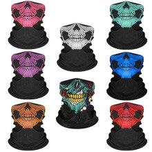 50PCS Halloween Costume For Men Women Party Mask Face Shield Skull America Flag Magic Scarf Turban Mask Headband Bandanas Funny