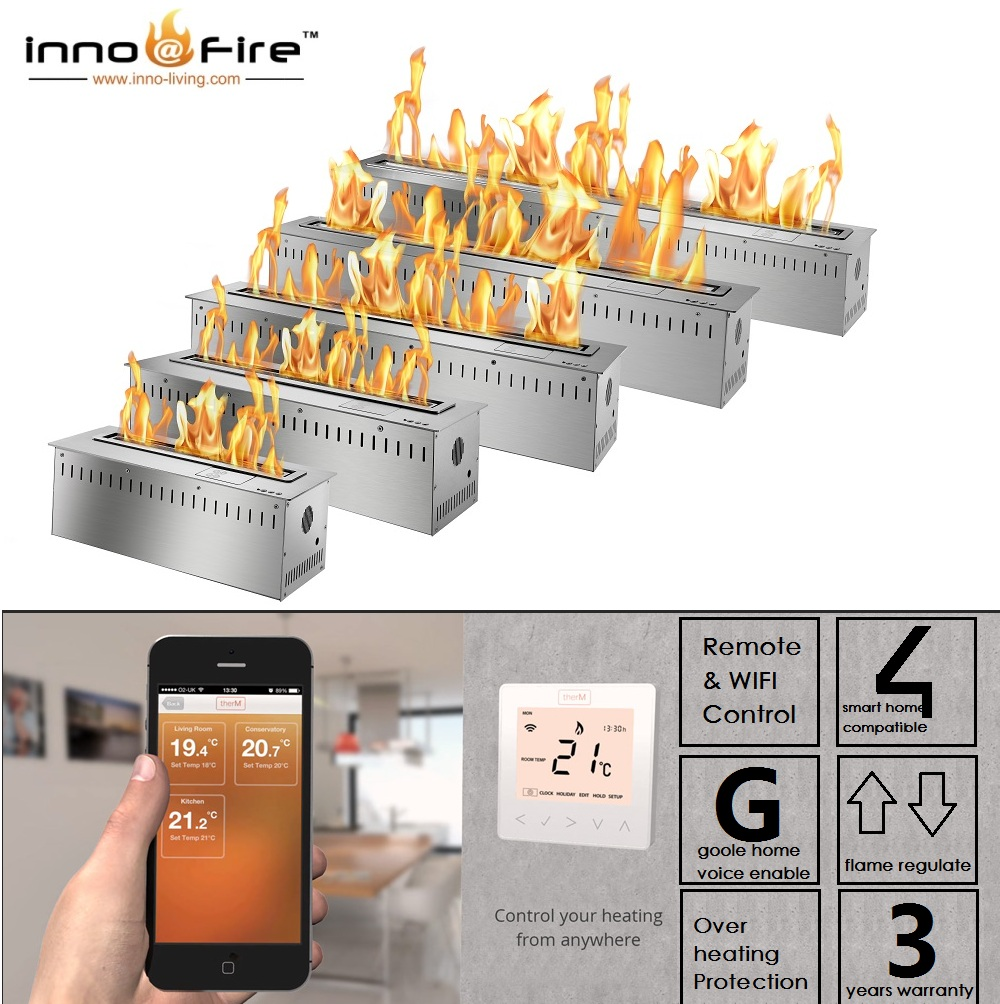 Hot Sale 24 Inches Luxury Fireplace App Control Smart Ethanol Burner Insert