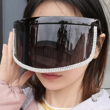 2020 Super Big Frame Crystal Shield Sunglasses For Women Vintage Black Clear Rhi