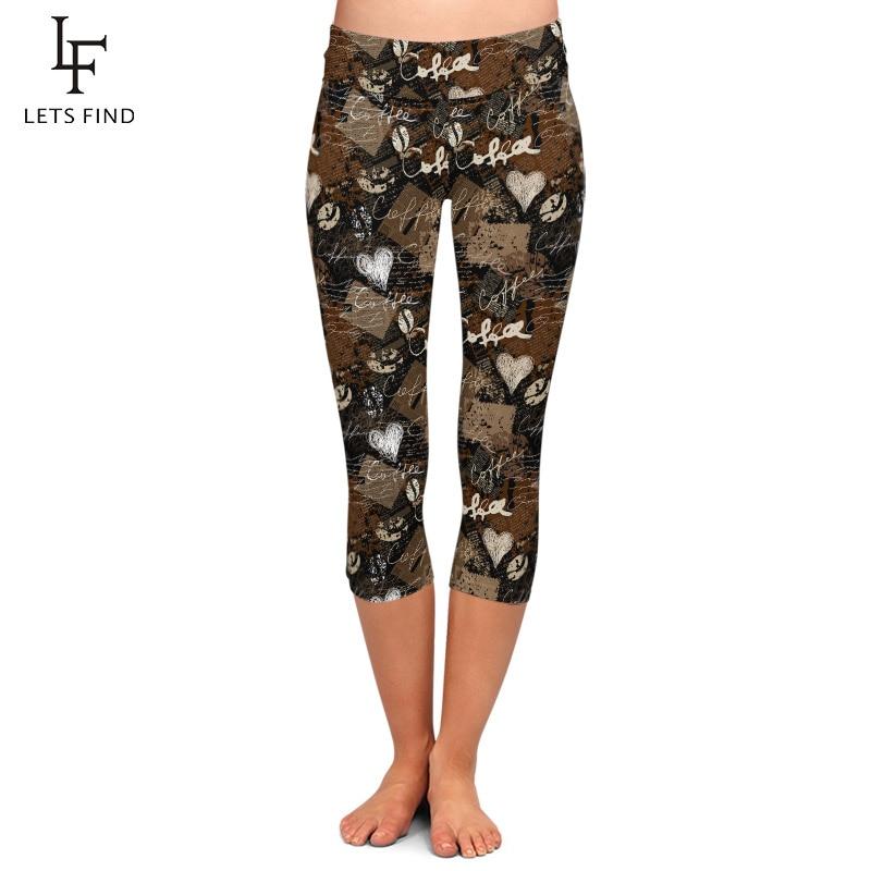 LETSFIND Fashion New Coffee and Heart Printing Soft Women Capri Leggings High Waist Plus Size Fitness Slim Mid-Calf Leggings