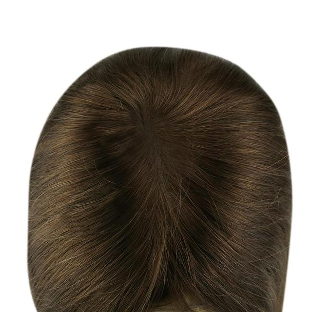 Extensiones de cabello humano Remy de Color puro con Clip para cabello completo y brillo corona de 12x6cm para mujer