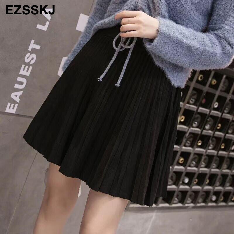 Image 4 - 2019 autumn Winter sweet short sweater sun skirt women A line skirt umbrella skirt female high waist  knit bottom mini skirt-in Skirts from Women's Clothing