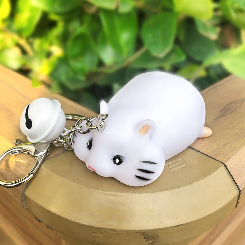 Year Of The Mouse Lucky Rat Key Chain For Women Squeeze Making Sounds Spoof Tricky Stress Relief Keyring Gift Trinket Charms