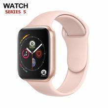 ساعة ذكية من الذهب الوردي Series 6 لأجهزة apple iphone 6 6 s 7 8 X XS plus لأجهزة samsung IOS و android