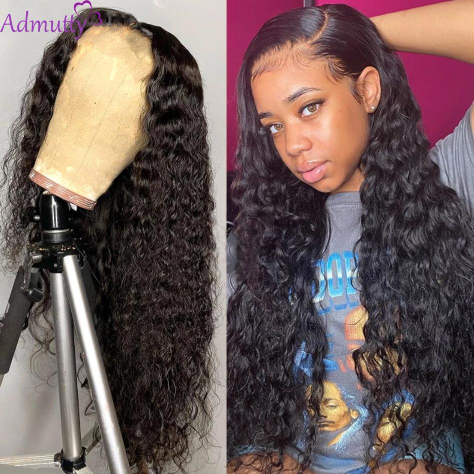 Admutty 13x4 Lace Front perruques de cheveux humains brésiliens perruques de cheveux humains vague d'eau pré plumé avec des cheveux de bébé 150 densité