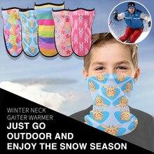 Зимняя детская маска для катания на велосипеде, лыжная маска для головы, шарф для шеи, теплая маска для лица с принтом, лыжная повязка на голову, Солнцезащитная Ветрозащитная маска для велосипеда, Аксессуары# T10
