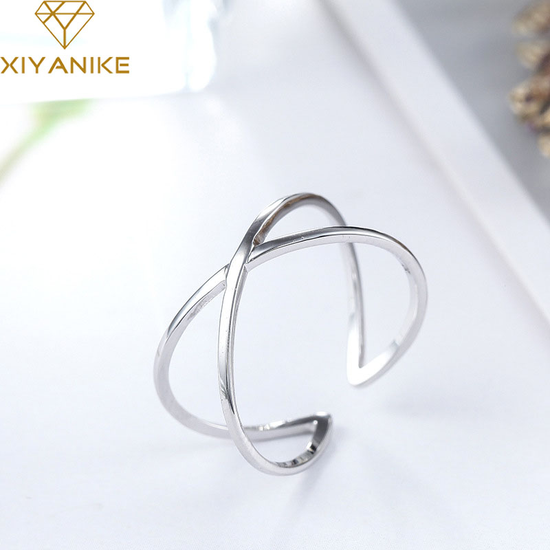 XIYANIKE Hot Sale 925 Sterling Silver Engagement Rings For Women Wedding Couple Creative Simple Geometric Party Jewelry
