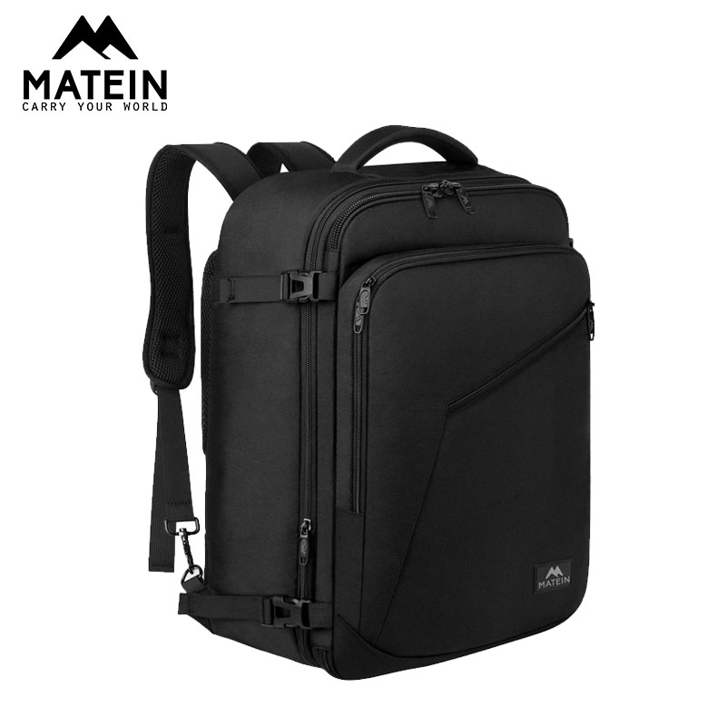 Matein Carry On Backpack Large 40L Travel Backpack Expandable Flight Approved Weekender Bag For Women's 2019 Bag  Passport Cover