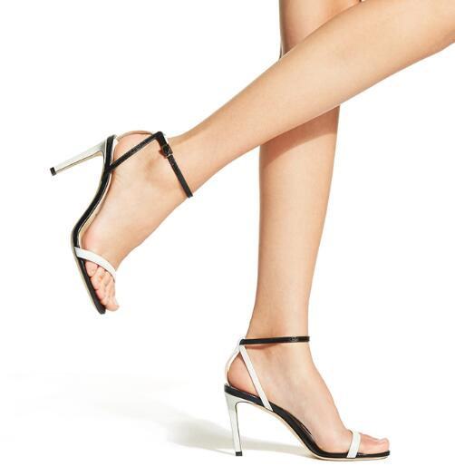 Moraima Snc Ankle Strap Mixed Colors Leather Sandal Summer Open Toe Thin Heels Shoes Sexy Runway Party Dress Shoes