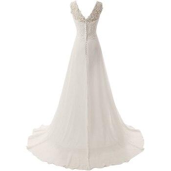 New Romantic Summer Bridal Dress Fluid feel Chiffon Sleeveless Lace Deep V-Neck Adjustable Plus Size Wedding Dress 3