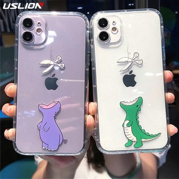 USLION Soft Silicone Crocodile Pattern Phone Cover For iPhone 11 Pro X XR XS Max 7 8 7Plus Soft TPU Back Case Shockproof Cover image