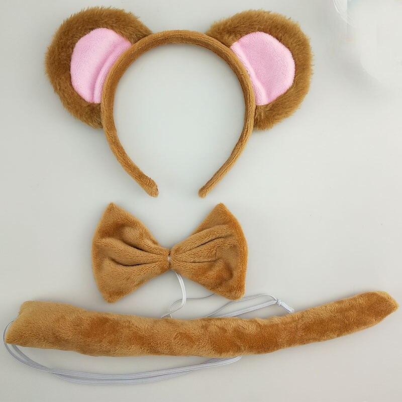 Детская повязка на голову с ушками животных для мальчиков и девочек; комплект с галстуком-бабочкой и хвостом для детей и взрослых; карнавальный костюм; вечерние аксессуары для волос - Цвет: 39