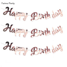 Twins Rose Gold Kids Birthday Party Decoration Baby Shower Banner Rose Gold Banner Happy birthday Banner Paper Bunting Garland 11 feet rose gold glitter circle dot garland paper banner hanging backdrop christmas birthday party wedding decoration shower