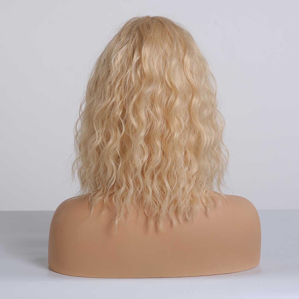ALAN EATON açık sarı Lolita Cosplay Bobo peruk sentetik kısa peruk kadınlar için patlama ile su dalga sevimli peruk yüksek sıcaklık