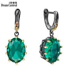 Grandes boucles d'oreilles vertes pour femmes, bijoux de mariée en Zircon cubique éblouissant, coupe Fine, offre spéciale, WE4034