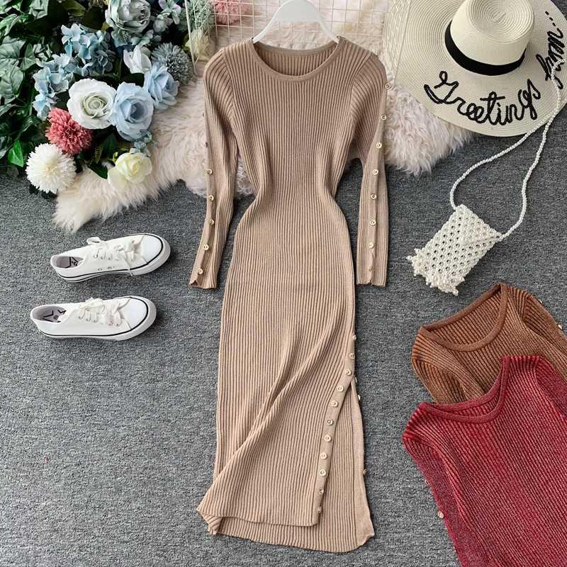 의류 봄 니트 여성 2020 한국어 Bodycon 스웨터 드레스 우아한 긴 소매 빈티지 Vestidos Mujer KJ5220