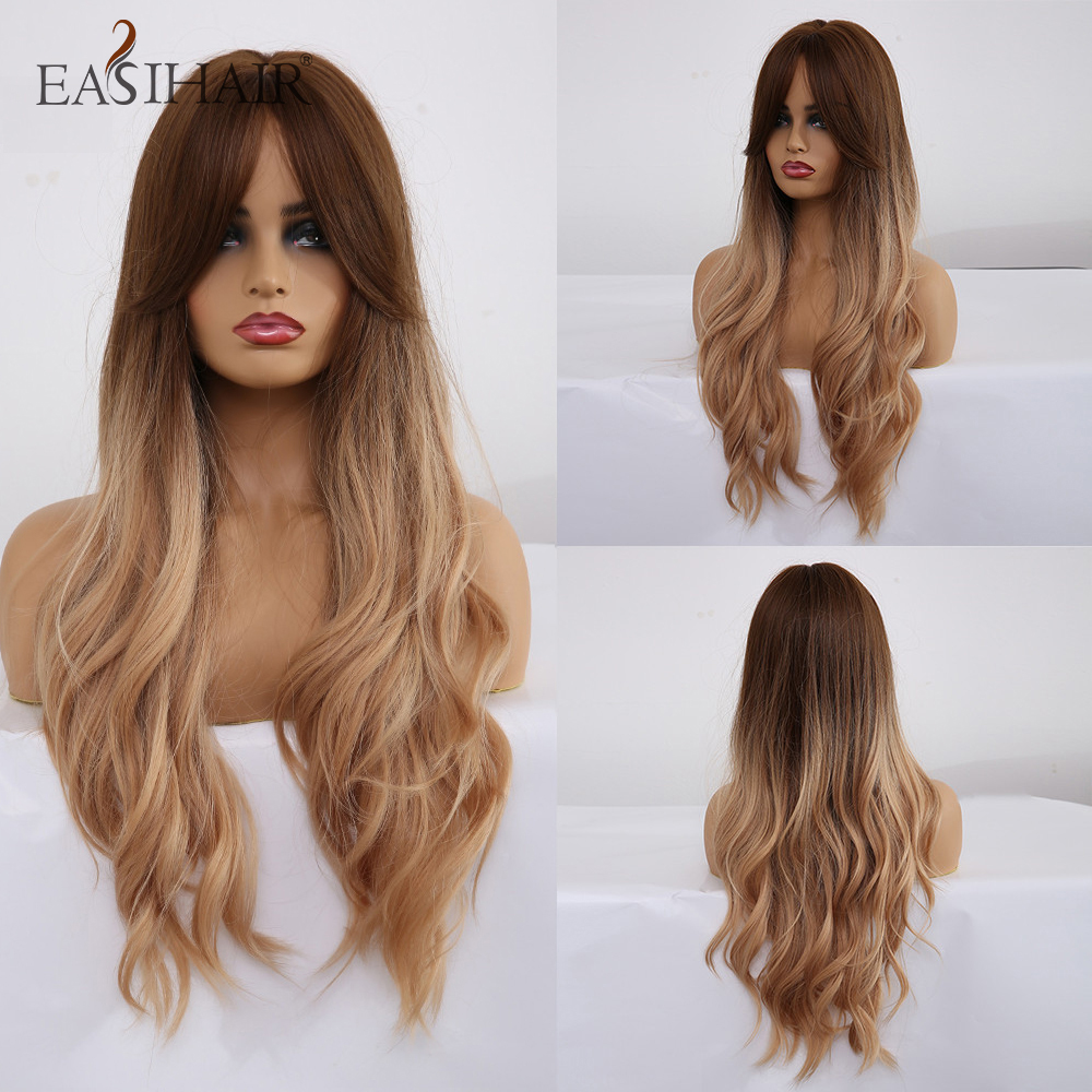 EASIHAIR Long Brown To Blonde Ombre Synthetic Wigs For Women Wigs With Bangs High Density Wavy Cosplay Wigs Heat Resistant