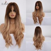 EASIHAIR długie brązowe do blond peruki syntetyczne Ombre dla kobiet peruki z grzywką wysokiej gęstości faliste Cosplay peruki żaroodporne