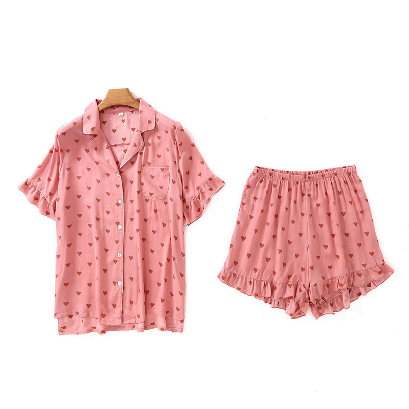Shorts Pajamas Women's Home Suits Casual Heart Printed Pajamas Summer Short-sleeved Cardigan Shirts With Shorts Home Clothes