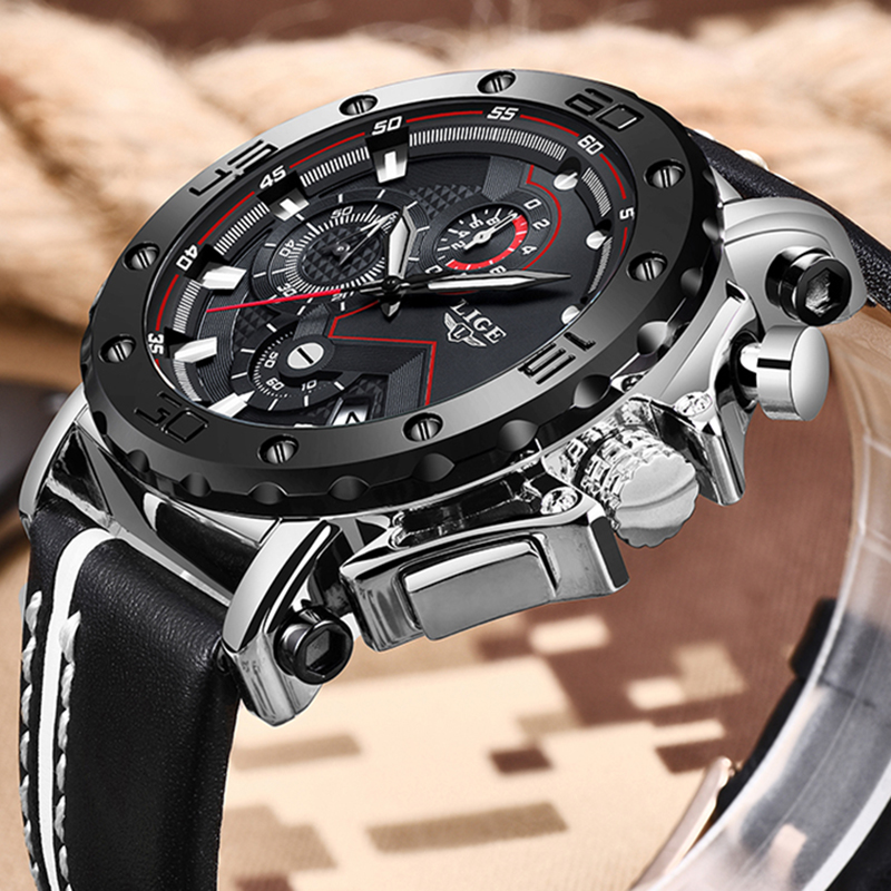 Men Watches LIGE Top Brand Luxury Male Big Dial Business Chronograph Waterproof Quartz Wrist Watch Men Casual Leather Date Clock in Quartz Watches from Watches