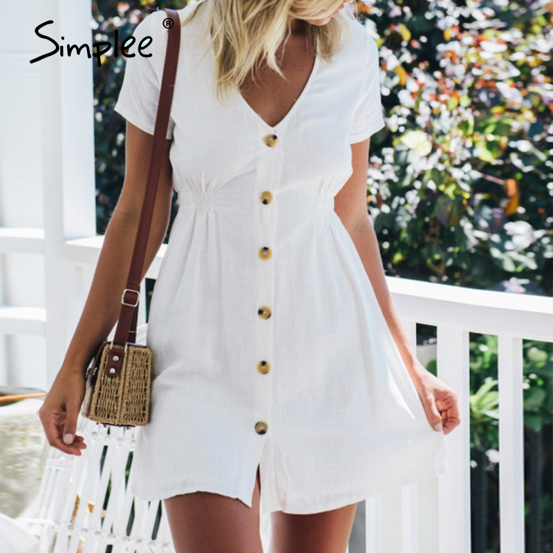 Simplee Plus Size Women Dress Casual Buttons High Waist Short Sleeve Summer Dress Solid Streetwear Beach Sexy Office Dress 2020