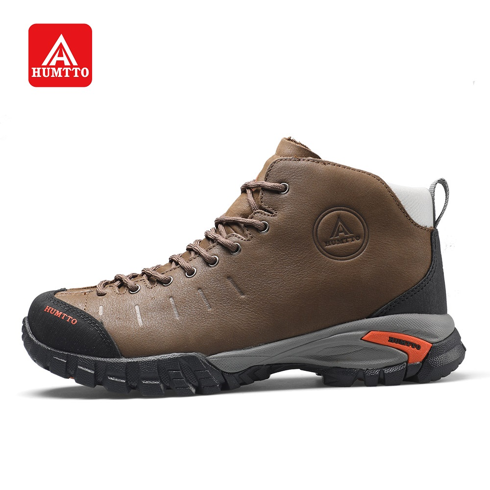 HUMTTO Waterproof Hiking Boots For Men Women Outdoors Walking Climbing Shoes Rubber Lace-up Non-slip Cow Leather Sneakers