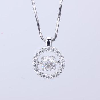 Fashion jewelry 18k White Gold moissanite stone long pendant necklace moissanite diamond jewelry for women wedding nacklace 1