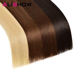 Image 5 - Alishow 18 cal taśmy w Remy doczepy z ludzkich włosów podwójne wyciągnąć włosy proste niewidoczne wątek skóry PU włosów