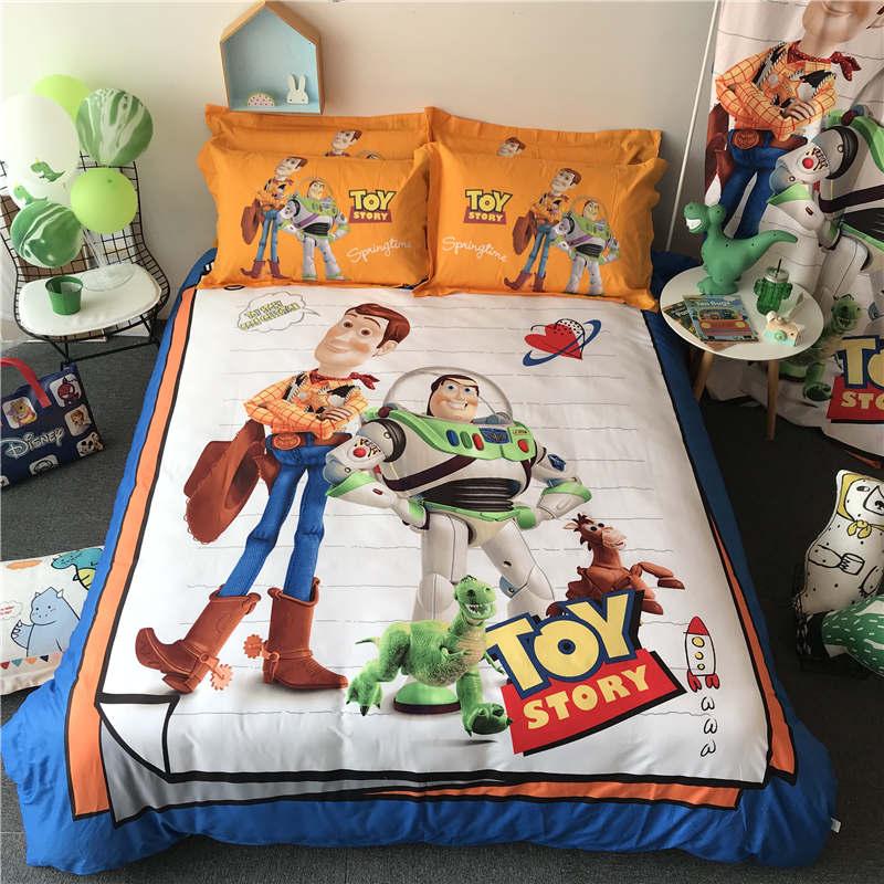 Cartoon Woody print literie ensemble de couette 3/4/5 pièces disney toy story linge de lit garçon enfants chambre décor 100% coton taie d'oreiller