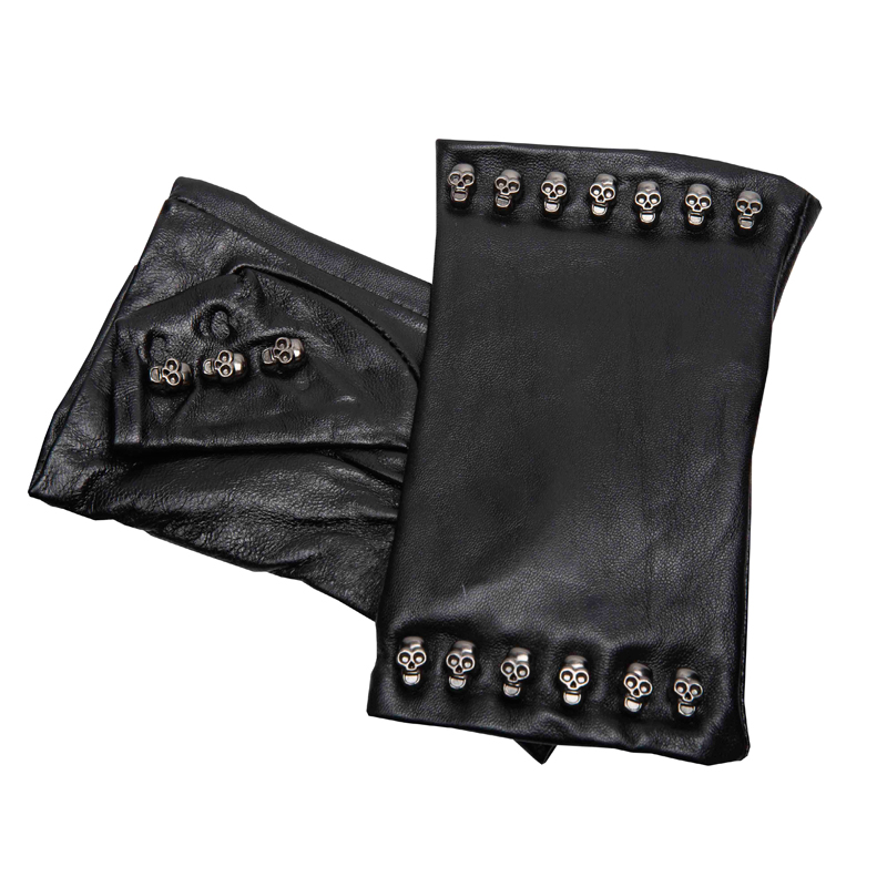 2019 Special Offer Women Gloves Wrist Rivet Sheepskin Glove Female Thin Genuine Leather Hiphop Lambskin Driving Fingerless Glove