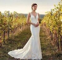 Turkey Boho Sleeveless Wedding Dresses Mermaid 2020 Appliques Lace Chiffon Buttons V Neck Wedding Gowns White Beach Bride Dress