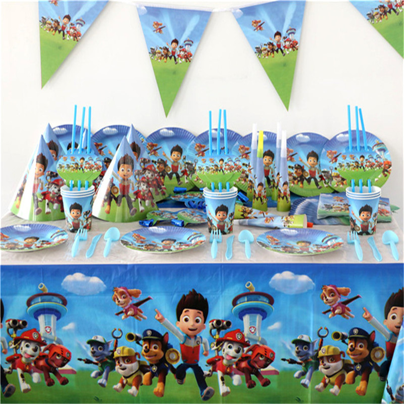 106 sztuk Paw Patrol Theme Baby Shower chłopcy dekoracje urodzinowe wesele Event zaopatrzenie firm różne zestawy zastawy stołowej