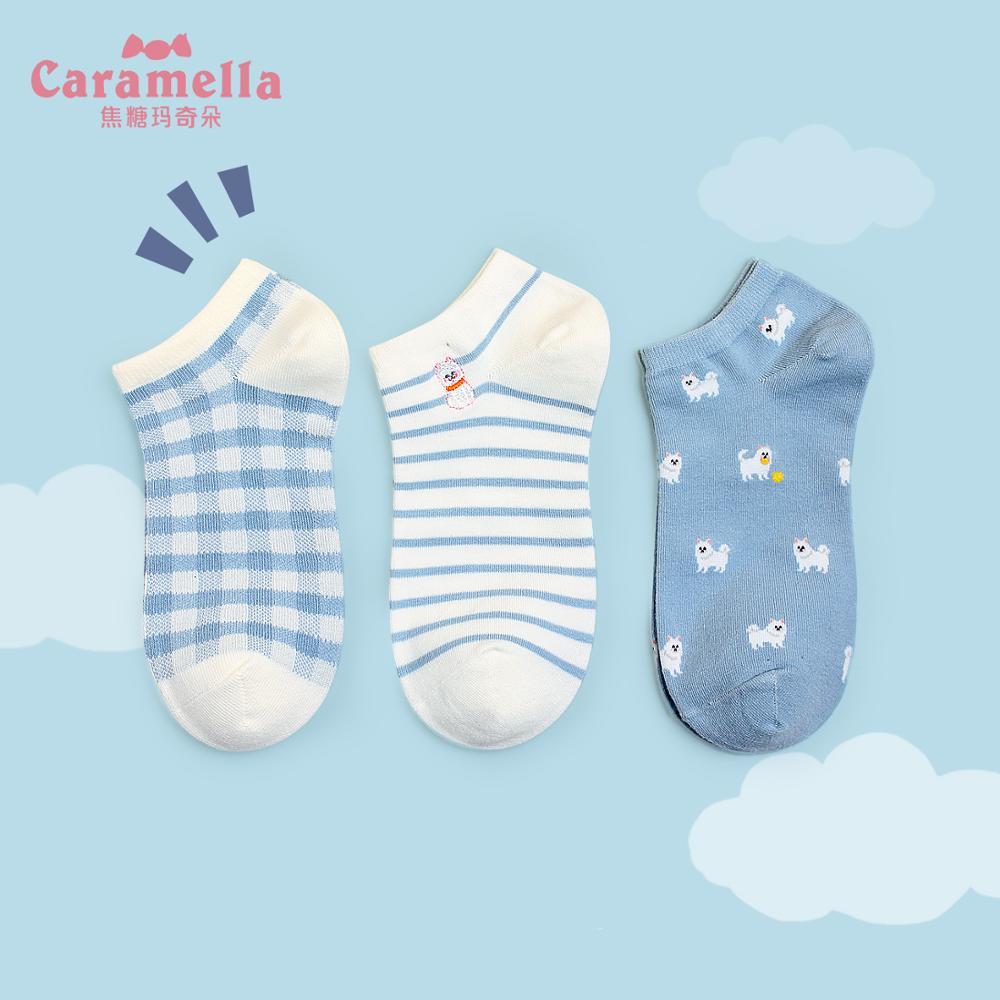 Caramella 3Pairs New Women Socks Breathable Sports Socks Cute Dog Boat Socks Comfortable Cotton Ankle Socks Skarpetki Damskie