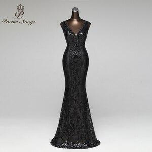 Image 5 - Şiirleri şarkıları örgün parti elbise uzun akşam elbise vestido de festa lüks kırmızı pullu robe longue balo abiye
