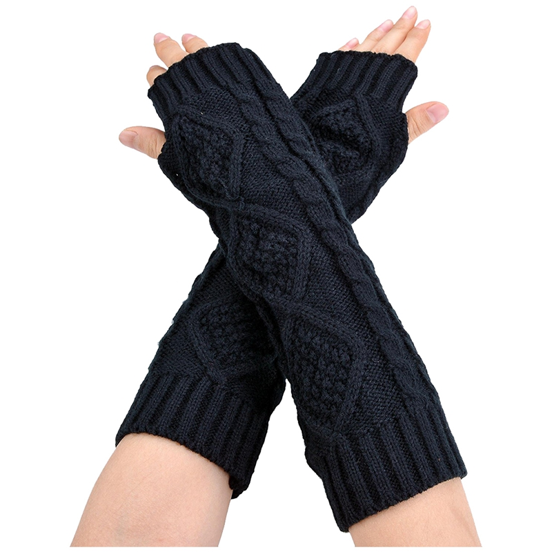 Womens Cashmere Protection Knitted Wool Long Fingerless Arm Warmers Gloves