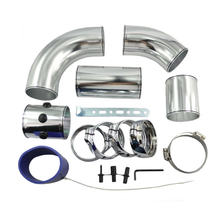 цена на Universal 3 Inch Aluminium Air Intake Filter Pipe Turbo Engine Intercooler Piping With Silicone Hose and Clamps 5PCS