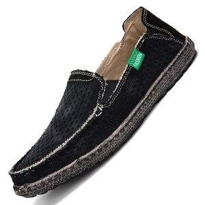 Image 5 - Sommer Casual Slip Auf Atmungsaktive Männer Leinwand Schuhe Espadrille Alpargatas Hombre Denim Deck Schuhe Mokassin Homme Herren Slip ons