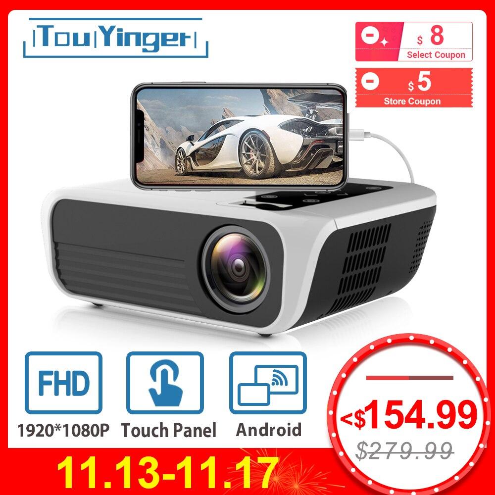 Touyinger l7 led nativo 1080 p projetor 4500 lumens completo hd beamer vídeo android 7.1 wifi ac3 bluetooth cinema em casa hdmi