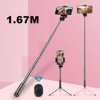 1,67 M extensible trípode Selfie Stick con Bluetooth inalámbrico monopié con Control remoto Selfie temporizador del obturador para IOS Android móvil