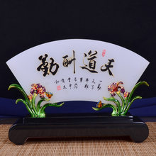 Coloured Glaze Jade Screen Ornaments Enamel Home Decoration Retro Crafts Sale Gift Top Grade Collection Gift Customization(China)