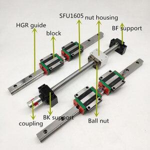 2шт HGR20 линейная направляющая 1500 мм + 4 блока HGH20CA/HGW20CC + 1 SFU1605 шариковый винт 5 мм свинец + BF12/BK12 + шаговое соединение для ЧПУ
